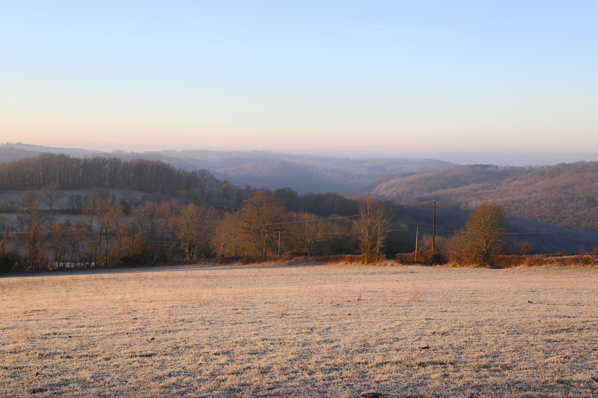 A frosty view across the hills, January