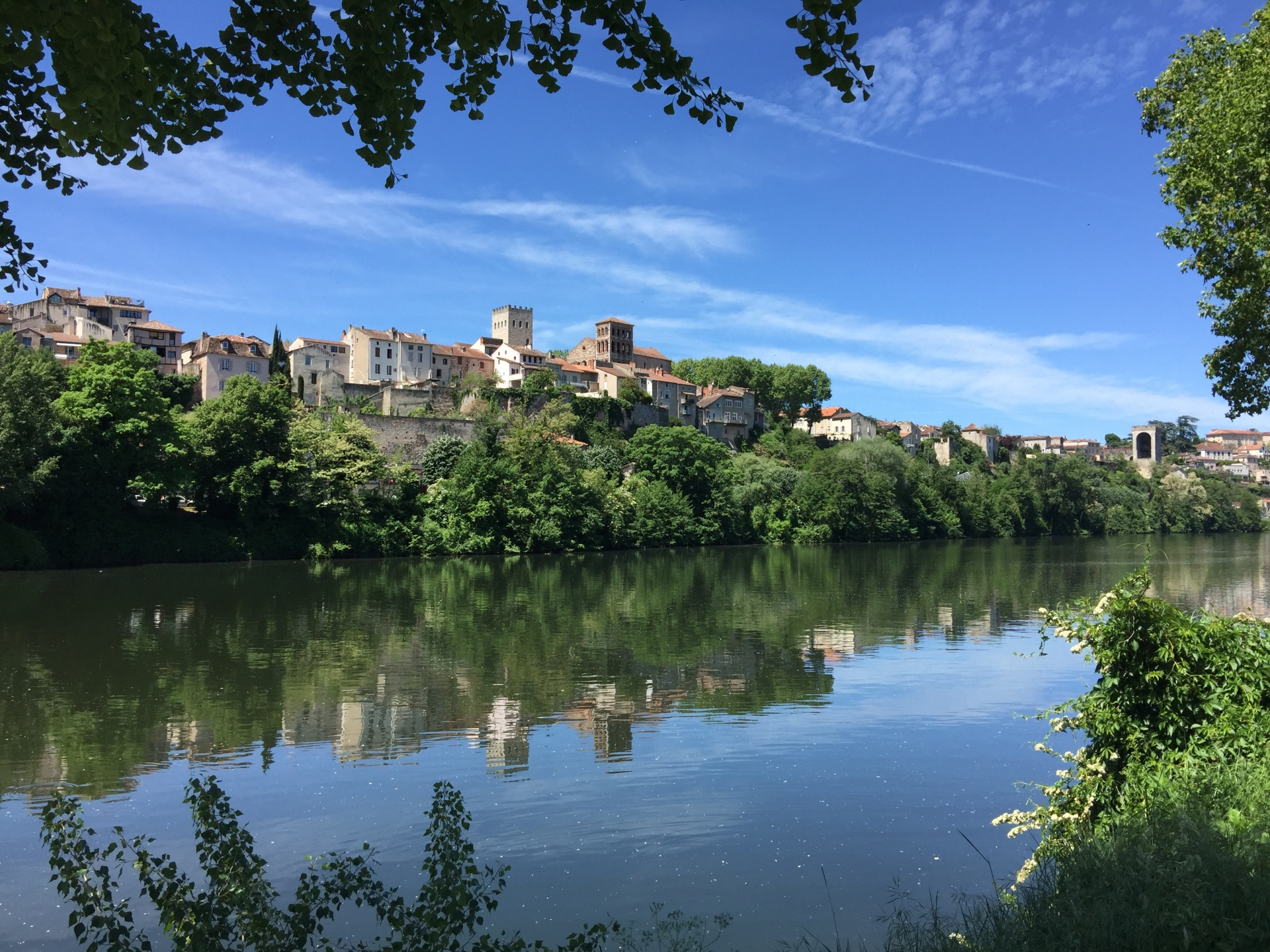 View across the river Lot towards the old quarter of Cahors