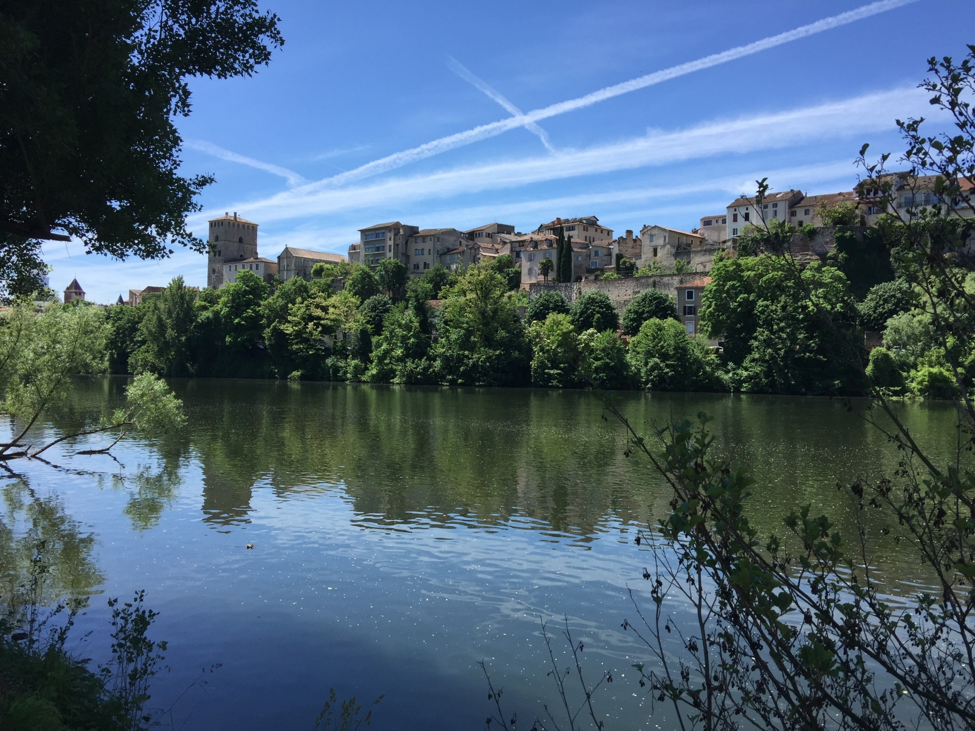 The old quarter of Cahors, from across the river Lot